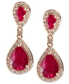 Rosa by EFFY Ruby (2-5/8 ct. t.w.) and Diamond (1/3 ct. t.w.) Drop Earrings in 14k Rose Gold - Earrings - Jewelry & Watches - Macy's