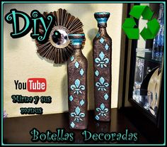 Diy. Decorando Botella de Vidrio Mirna y sus manus. Decorating Glass Bottle