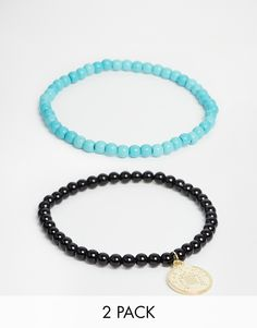 Ashiana Stretch Turquoise Bead Bracelet With Coin Charm