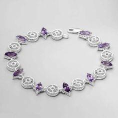 Charming Bracelet With Genuine Amethysts