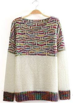 White Long Sleeve Contrast Mixed Knit Sweater -SheIn(Sheinside)