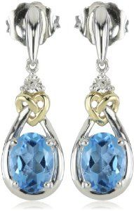 Sterling Silver and Yellow Gold Diamond Accent Swiss Blue Topaz Love Knot Earrings Topaz Jewelry, Diamond Jewelry, Diamond Earrings, Heart Jewelry, Fine Jewelry, Blue Topaz Stone, Latest Jewellery, Swagg, Bling Bling