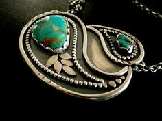 Paisley Cradle Turquoise Necklace Kingman mine by louiseodwyerdesigns