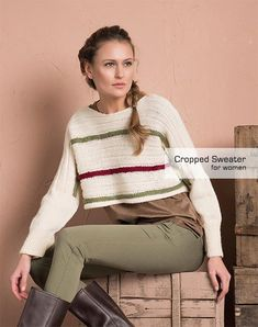 This Easy Cropped Sweater Knitting Pattern is easy enough for any knitter to accomplish. If you're not a fan of the cropped look, just knit the body longer or wear a shirt underneath it! Baby Boy Knitting Patterns Free, Easy Sweater Knitting Patterns, Cardigan Pattern, Knit Patterns, Knitting Ideas, Knitting Projects, Crop Top Sweater, Sweater And Shorts, Knit Shirt