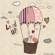 print & pattern. cute hedgehogs on a hot air balloon #love