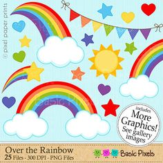 Rainbow clipart  Digital Clip Art  Personal and by basicpixels, $1.50