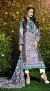 Look as pretty as Malaika Arora Khan in this fantastic white pure cotton bollywood salwar kameez which is crafted with exclusive designer printed work all over and resham embroidery work on the neck line. This attire comes with matching bottom and dupatta. This Salwar Kameez can be stitched in the maximum bust size of 44 inches...