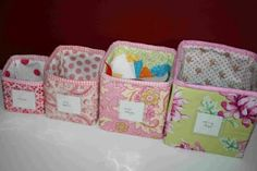 Need storage cubes and cute ones? Organize your child's bookshelf or dresser with some darling storage cubes. This project is perfect for leftover fabric. To see the entire tutorial with more photos and clear instructions go to crazy mom quilts. Fabric Storage Boxes, Fabric Boxes, Craft Room Storage, Cube Storage, Fabric Basket, Storage Bins, Diy Storage, Storage Containers, Scrap Fabric