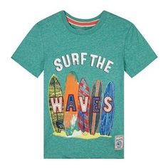 Boy's green surfboards print t-shirt