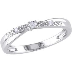 Miabella Round-Cut Diamond-Accent Sterling Silver Promise Ring