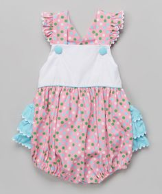 Look at this #zulilyfind! Pink & Green Polka Dot Ruffle Bubble Bodysuit - Infant & Toddler #zulilyfinds