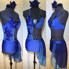 Gorgeous 2 piece custom costume for Nikki. Attached on one side, so it is technically a one piece costume. A rich royal blue base with sapphire accents. Custom Dance Costumes, Girls Dance Costumes, Dance Costumes Lyrical, Burlesque Costumes, Dance Outfits, Tutu Skirt Women, Contemporary Dance Costumes, Ballet Clothes, Ladies Dress Design