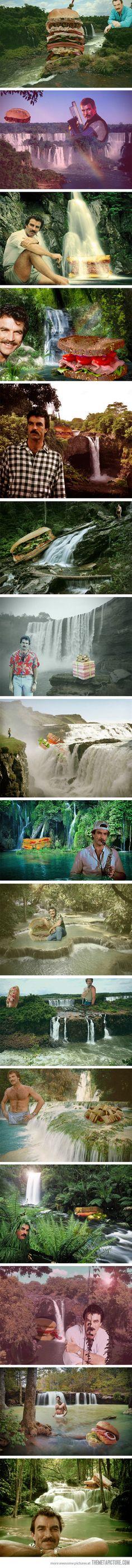 Tom Selleck waterfall sandwich photos