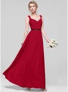 A-linjainen/Prinsessa Kultaseni Lattiaa hipova pituus Sifonki Morsiusneitojen mekko jossa Rypytys Satiininauhavöitä