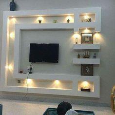 Lcd Wall Design, House Ceiling Design, Ceiling Design Living Room, Bedroom False Ceiling Design, Wall Unit Designs, Living Room Tv Unit Designs, Tv Showcase Design, Tv Wanddekor, Vitrine Design