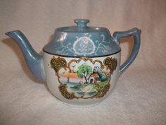 Vintage Blue Luster Lustre Ware Teapot Japan Swan on Lake House Black Accent