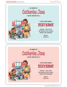 Little Miss Baker Birthday Party Invitations. These are super cute but perhaps a little sexist for me. Box Invitations, Printable Invitations, Birthday Party Invitations, Birthday Party Themes, Party Favors, Party Candy, Birthday Ideas, Printables, Baking Birthday Parties