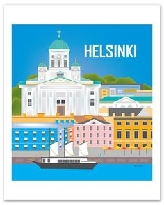 Loose Petals Helsinki wall art print gifts are made for art buyers & interior designers seeking personalized art prints for contemporary modern interiors. Hallmark Greeting Cards, Finland Travel, America Images, Retro Font, House Drawing, Helsinki, Nursery Art, Travel Posters, Art Images