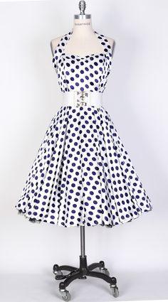 50s BigNavyBlueDot/White Polka Dot Swing Satin Dress-UK Free Shi [SPOLK-HAL-BigNavyBlu_Whit] - £34.99 : Queen of Holloway, Dressing Shop
