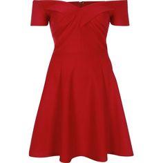 River Island Red scuba bardot skater dress ($80) ❤ liked on Polyvore featuring dresses, vestido, red, red off shoulder dress, red short sleeve dress, skater dress, off shoulder dress and flare dress