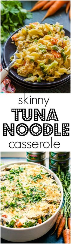 """This Skinny Tuna Noodle Casserole doesn't taste """"skinny"""". Extra veggies and delicious @Genova tuna make a delicious casserole everyone will rave over! #ad"""