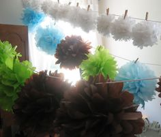 pom poms or lanterns can be hung this way
