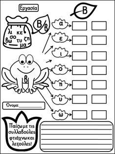 Μαθαίνοντας ανάγνωση και γραφή με την αναλυτικοσυνθετική μέθοδο. Φύλλ… Classroom, Teaching, Comics, School, Kids, Fictional Characters, Writing, Class Room, Children