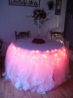 Tulle Table Skirt With Twinkle Lights Within For Very Cool Back Lightingle  : Wedding Diy Wedding 003