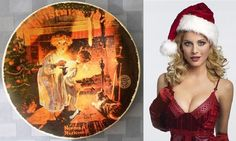 """Plato de colección 'Somebody's Up There' de Norman Rockwell (1979) / Norman Rockwell Christmas 1979 """"Somebody's Up There"""" Knowles numbered plate"""