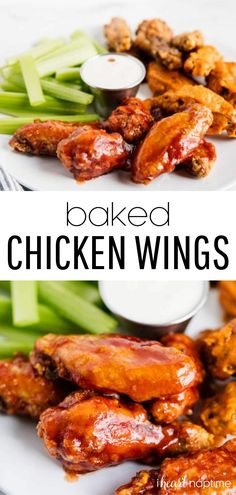 These oven baked chicken wings are SO easy to make and seriously addicting! They're crispy, flavorful and the perfect party appetizer. Coat them in your favorite sauce and dig in! #chicken #chickenwings #wings #bakedchicken #bakedchickenwings #gameday #gamedayappetizers #appetizers #easyappetizers #appetizerideas #recipes #iheartnaptime Crispy Baked Chicken Wings, Bbq Chicken Wings, Baked Chicken Recipes, Keto Chicken, Cooked Chicken, Chicken Soup, Fried Chicken, Tandoori Chicken, Chicken Appetizers