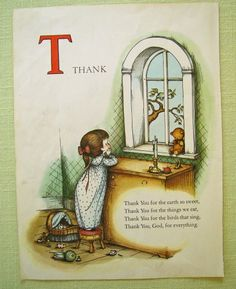 Print Thank you Joan Walsh Anglund vintage 1960 My kids used to say this prayer when they were little Nursery Rhymes Poems, Joan Walsh, Poetry For Kids, Kids Poems, Children's Book Illustration, Vintage Children, Childhood Memories, Childrens Books, Illustrators