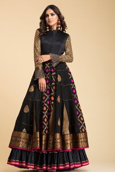 Black Banarsi Anarkali with quilt details on bodice and gota details on sleeves and frills. Shrug For Dresses, Indian Gowns Dresses, Pakistani Dresses, Pakistani Suits, Pakistani Bridal, Indian Bridal, Bridal Dresses, Long Gown Dress, Lehnga Dress