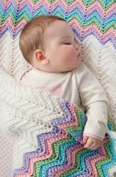 Rickrack Baby Ripple Blanket in Red Heart Soft Baby Steps - LW2548EN