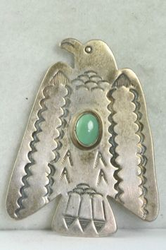VINTAGE LARGE DON LUCAS STERLING SILVER TURQUOISE THUNDERBIRD PIN #NATIVEAMERICANINDIANHANDMADE