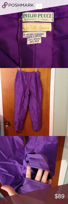Vintage Emilio Pucci stirrup pants, size 14 Vintage Emilio Pucci pants. These purple pants are labeled size 14. This is a vintage size. Looks like a high waist. Tried to measure the waist (it is a curved waist). See pics.Made in Italy Exclusively for Saks Fifth Avenue. 60% nylon, 40% silk. Dry clean.These pants feature a button, eye and hook, &zipper on the side for closure.These pants have stirrups.The crouch could possibly use reinforcement stitches and small hole needs repaired on crouch…
