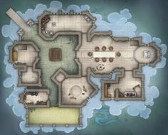"""[OC] Wyrmsmoke Keep is where the cult arranges their vile dealings with the players. Unleash your breath weapon and fight with claw and fang in our upcoming D&D Forgotten Realms adventure module """"Year of Rogue Dragons"""", playable by evil dragon character Fantasy Rpg, Fantasy World, D20 Modern, Building Map, Map Pictures, House Map, Forgotten Realms, Dungeon Maps, Character Home"""