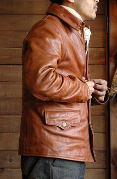 Sturdy Luggage Supply Stardie Luggage Supply Driving Leather Jacket Brown Aging Model