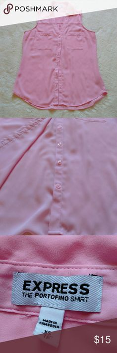 Light Pink Express Portofino Shirt Adorable! Light material but not see through. No holes or stains. All buttons are present. Would fit a size 2. Excellent condition. Express Tops Button Down Shirts
