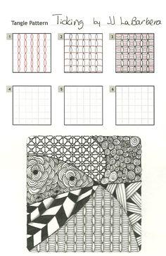 'Ticking', Zentangle mønster..