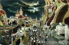 Hand colored photograph of Dreamland, Coney Island - opened 1911