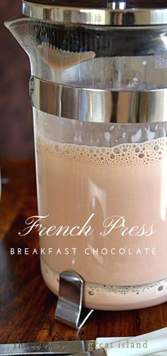 Press Breakfast Chocolate French Press Breakfast Chocolate ~ an easy European style hot chocolate!French Press Breakfast Chocolate ~ an easy European style hot chocolate! Non Alcoholic Drinks, Cocktail Drinks, Fun Drinks, Yummy Drinks, Yummy Food, Beverages, Cocktails, Detox Drinks, Catering