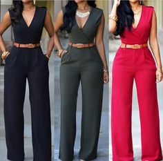 New Fashion Sexy Jumpsuits Ladies Loose Slim Casual Party Overalls Women Sleeveless Night Club Rompers With belt macacao Long Overalls, Overalls Women, Rompers Women, Jumpsuits For Women, Women's Rompers, Long Jumpsuits, Harajuku Fashion, Harajuku Style, African Fashion