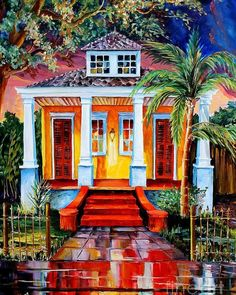 New Orleans Painting - Big Easy Bungalow by Diane Millsap New Orleans Art, New Orleans Homes, Gouache, Tropical Art, Tropical Paintings, All Poster, Posters, Thing 1, Beautiful Paintings