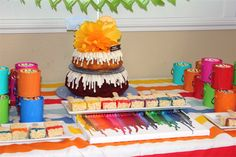Art party birthday cake (Nothing Bundt Cakes).  www.talaevents.com