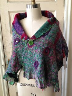 Nuno Felted Shawl, Recycled Sari Felted Scarf, Felted Shawl with Stitched and Open Spaces