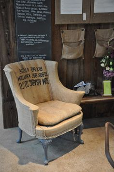 Burlap makes my Day! Love the coffee bag on the back! coffee bag some craigslist chairs!