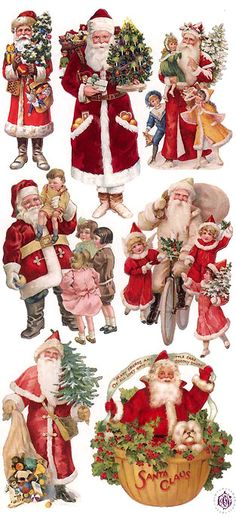 1 Sheet of Stickers Victorian Santa and Children Christmas Graphics, Christmas Clipart, Noel Christmas, Victorian Christmas, Christmas Printables, Christmas Crafts, Father Christmas, Vintage Christmas Images, Christmas Pictures