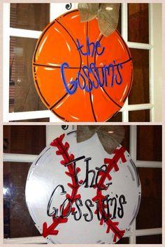 REVERSIBLE basketball, baseball, softball, golfball, soccer ball Custom for you  Wood Cut Out Door Hanger
