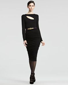 classic black dress- ruched jersey dress by donna karan. Cocktail Attire, Cocktail Dresses, Neiman Marcus Dresses, Classic Black Dress, Autumn Winter Fashion, Fall Fashion, Donna Karan, Dress Collection, Designer Dresses