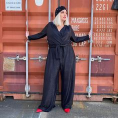 Tie waist jumpsuit, pointed toe heels and head wrap | Photo shared by Mel | For more style inspiration visit 40plusstyle.com